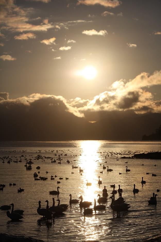 Sunset view at Inawashiro Lake. So scenic!