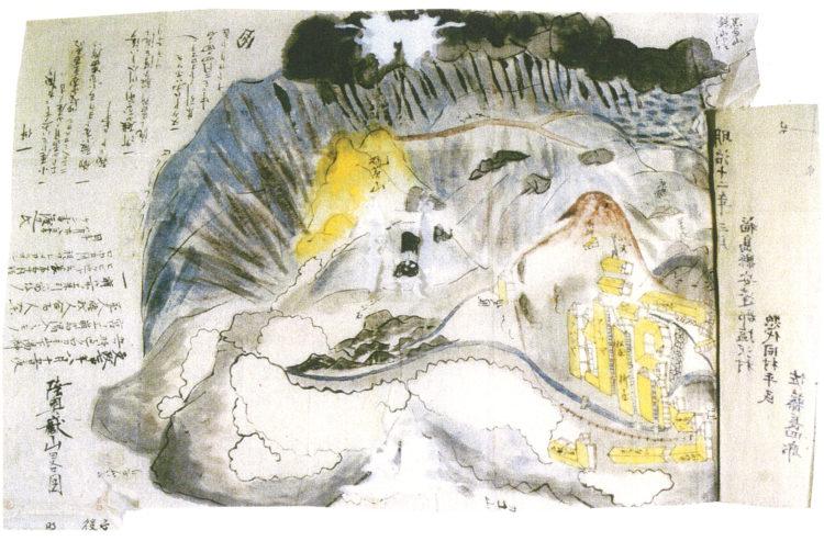 岳山崩れの図 (福島県歴史資料館)
